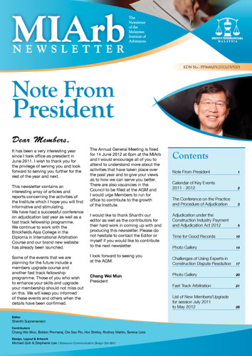 MIArb 2012 Newsletter